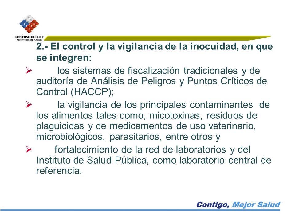 2.- El control y la vigilancia de la inocuidad, en que se integren: