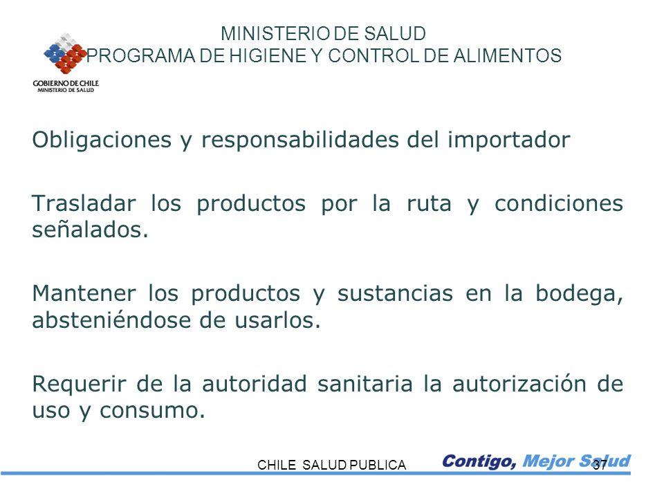 MINISTERIO DE SALUD PROGRAMA DE HIGIENE Y CONTROL DE ALIMENTOS