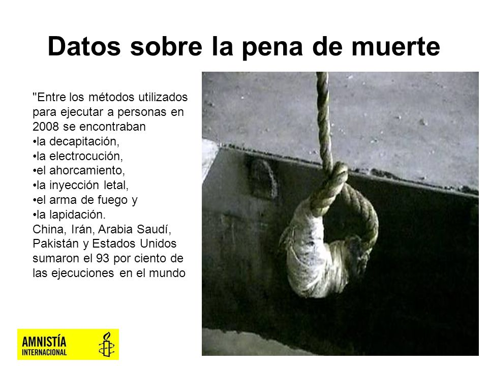 Datos sobre la pena de muerte