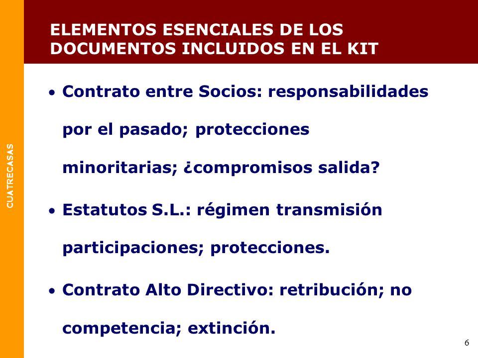 ELEMENTOS ESENCIALES DE LOS DOCUMENTOS INCLUIDOS EN EL KIT