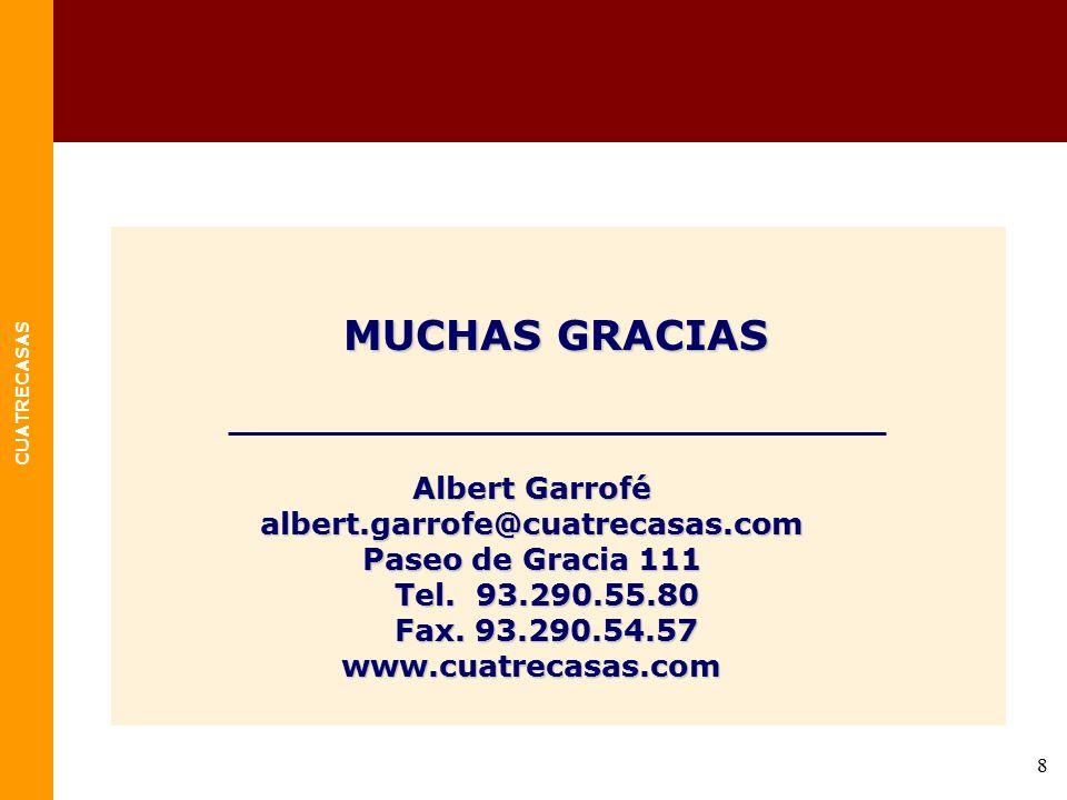 MUCHAS GRACIAS Albert Garrofé albert.garrofe@cuatrecasas.com