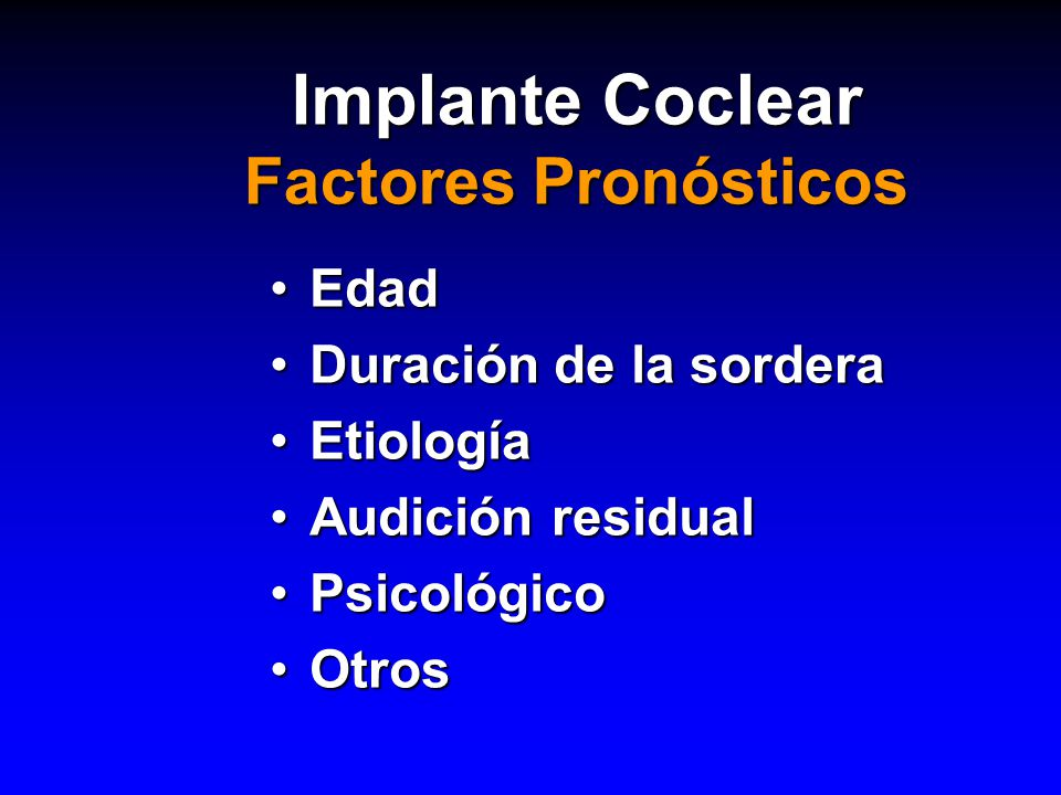 Implante Coclear Factores Pronósticos