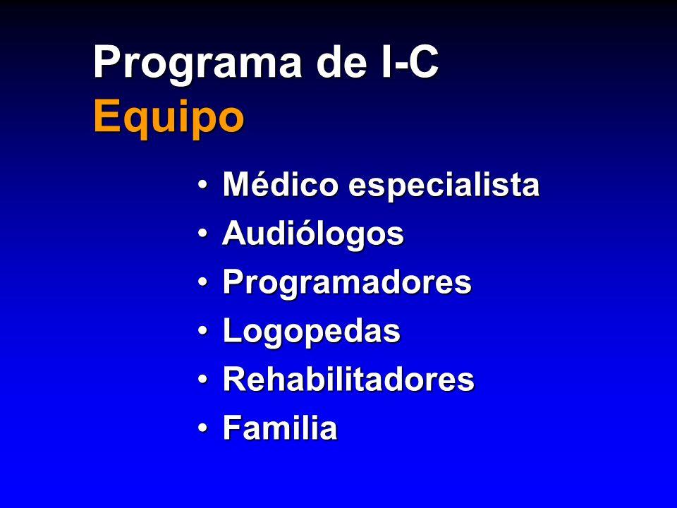 Programa de I-C Equipo Médico especialista Audiólogos Programadores