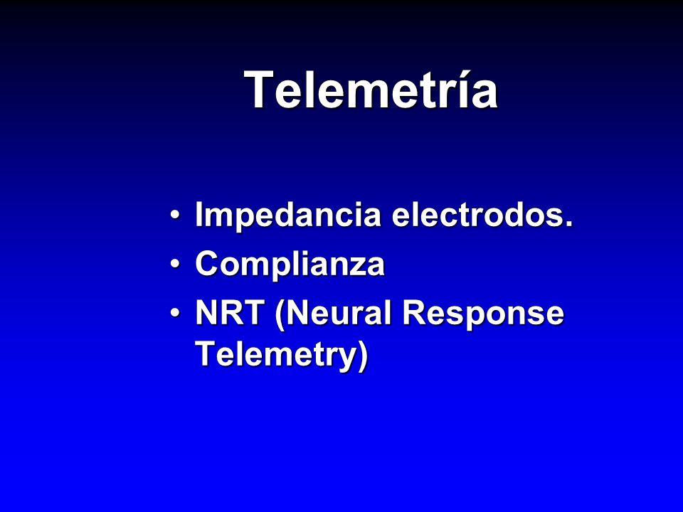 Telemetría Impedancia electrodos. Complianza