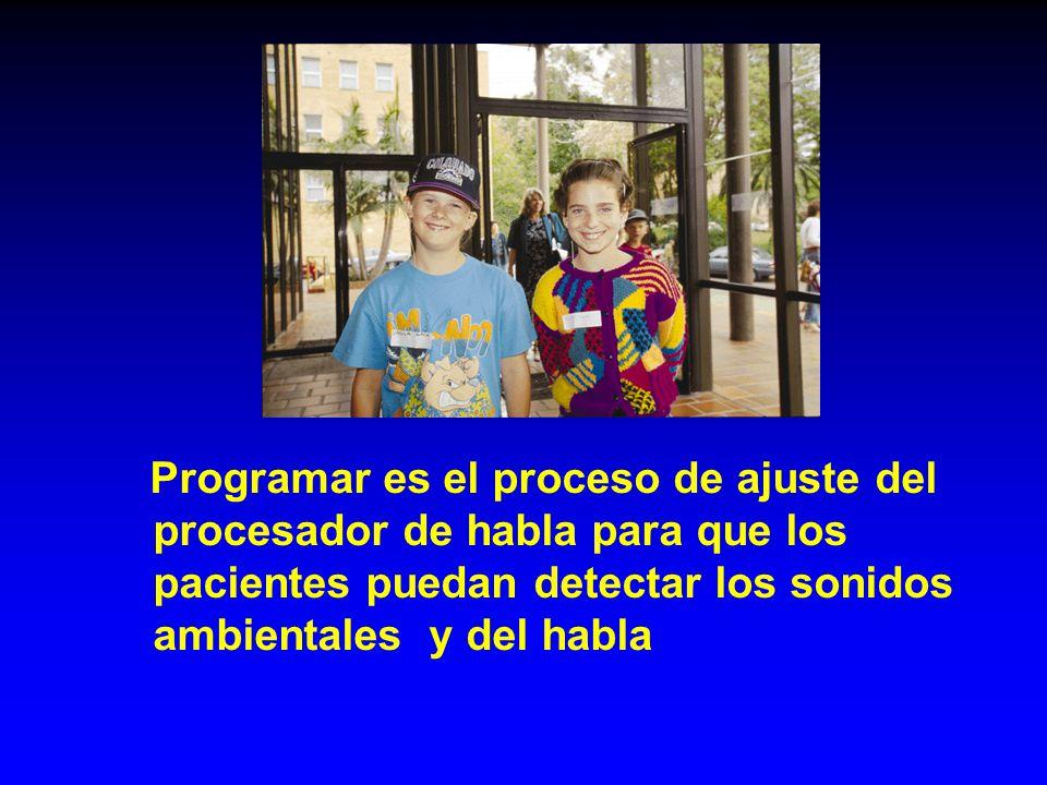 Programar es el proceso de ajuste del procesador de habla para que los pacientes puedan detectar los sonidos ambientales y del habla