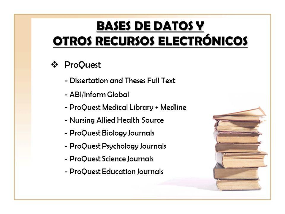 BASES DE DATOS Y OTROS RECURSOS ELECTRÓNICOS