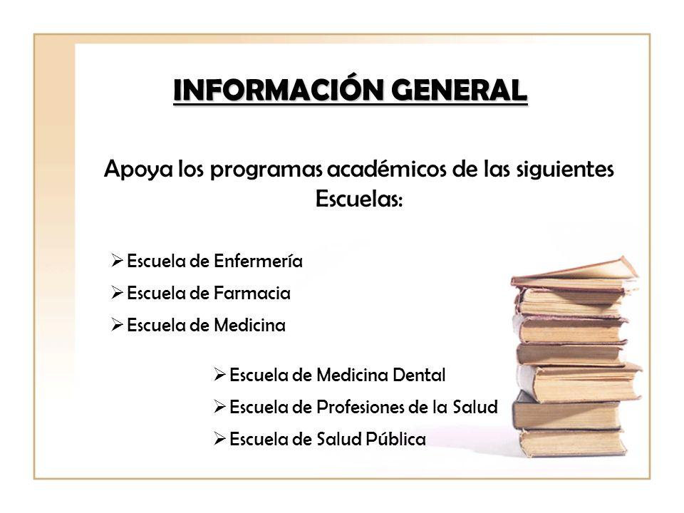 Apoya los programas académicos de las siguientes Escuelas: