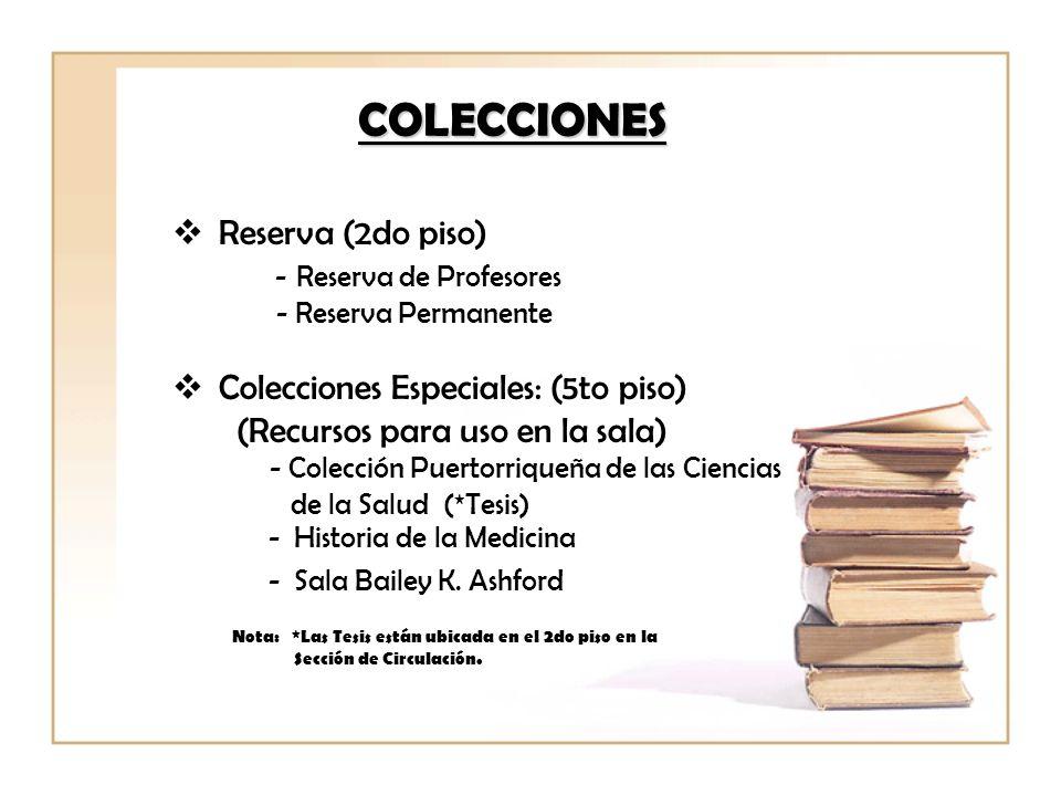 COLECCIONES Reserva (2do piso) - Reserva de Profesores