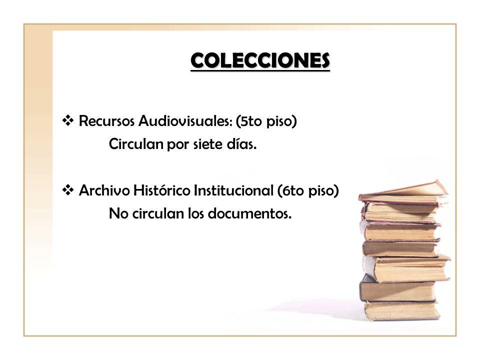 COLECCIONES Recursos Audiovisuales: (5to piso)