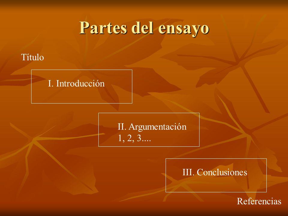 Partes del ensayo Título I. Introducción II. Argumentación 1, 2, 3....