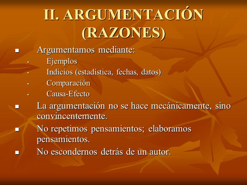 II. ARGUMENTACIÓN (RAZONES)