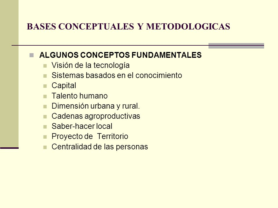 BASES CONCEPTUALES Y METODOLOGICAS