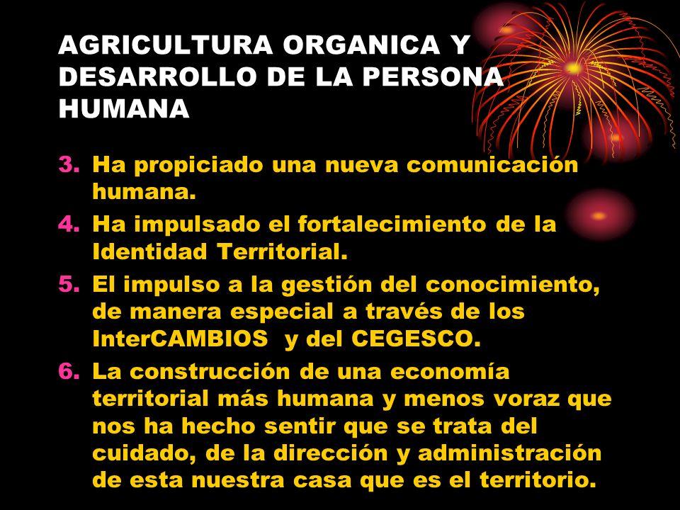 AGRICULTURA ORGANICA Y DESARROLLO DE LA PERSONA HUMANA