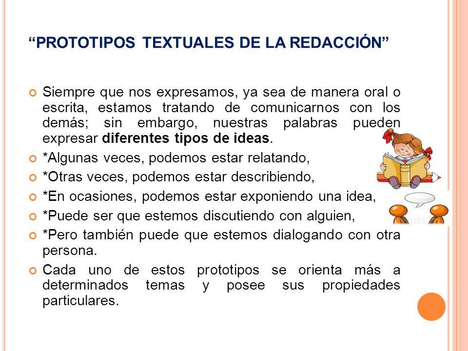 PROTOTIPOS TEXTUALES DE LA REDACCIÓN