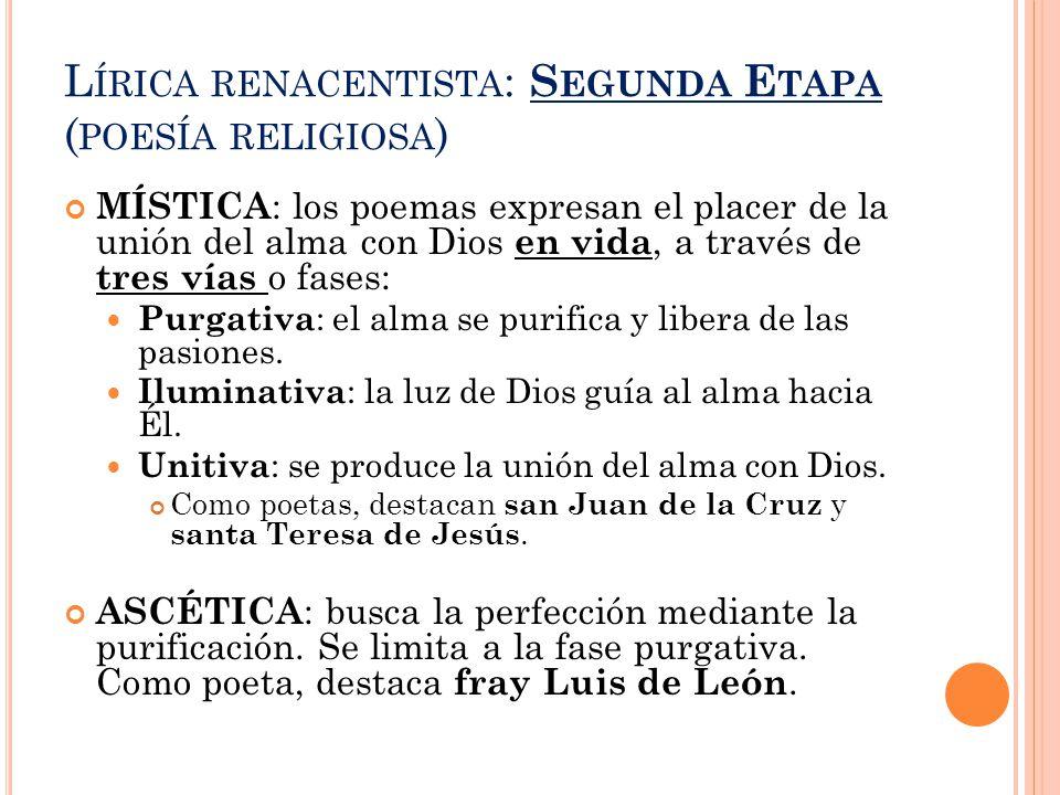 Lírica renacentista: Segunda Etapa (poesía religiosa)