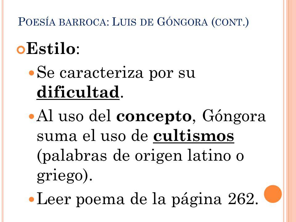 Poesía barroca: Luis de Góngora (cont.)