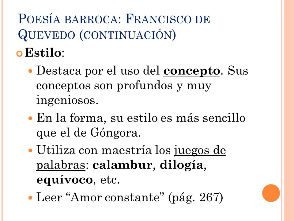 Poesía barroca: Francisco de Quevedo (continuación)
