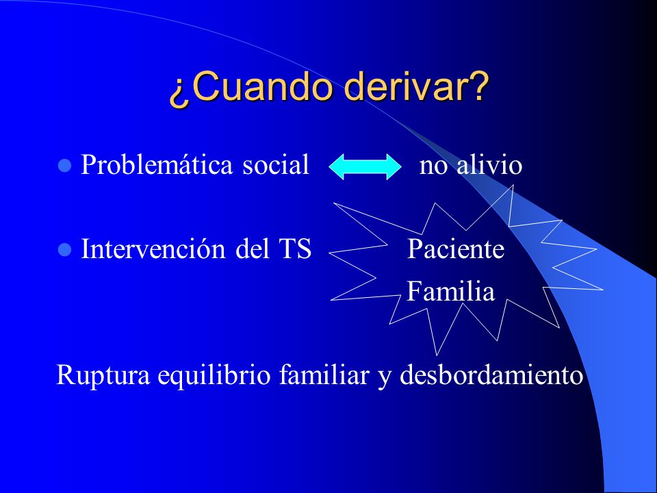 ¿Cuando derivar Problemática social no alivio