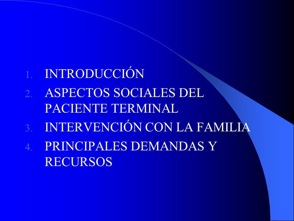 INTRODUCCIÓN ASPECTOS SOCIALES DEL PACIENTE TERMINAL.