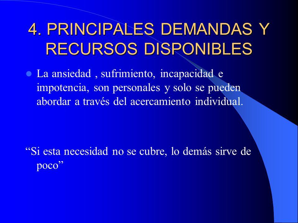 4. PRINCIPALES DEMANDAS Y RECURSOS DISPONIBLES
