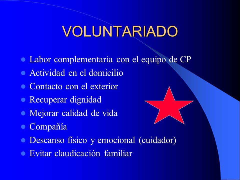 VOLUNTARIADO Labor complementaria con el equipo de CP