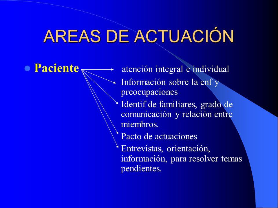 AREAS DE ACTUACIÓN Paciente atención integral e individual
