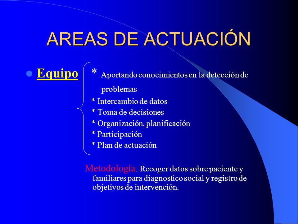 AREAS DE ACTUACIÓN Equipo * Aportando conocimientos en la detección de problemas.