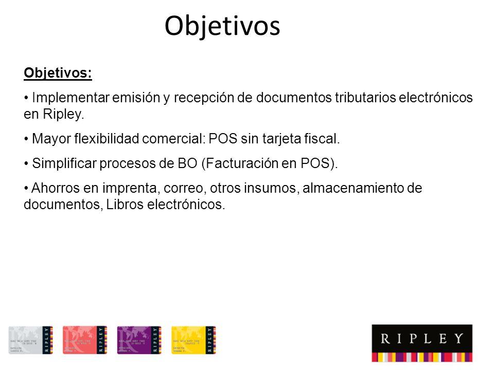 Objetivos Objetivos: Implementar emisión y recepción de documentos tributarios electrónicos en Ripley.