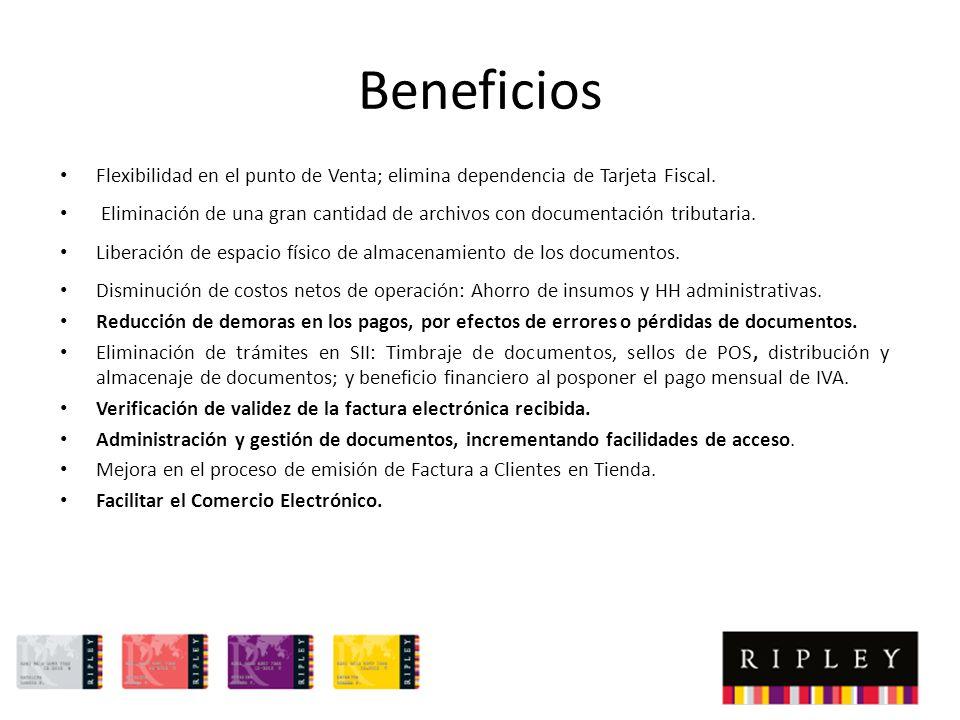 Beneficios Flexibilidad en el punto de Venta; elimina dependencia de Tarjeta Fiscal.