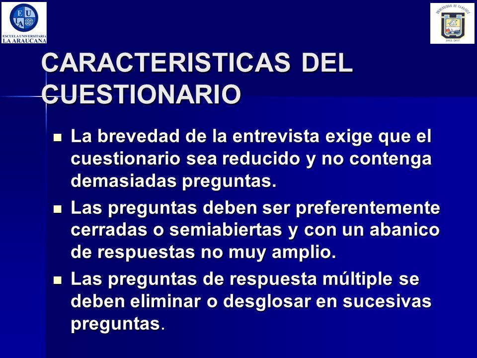 CARACTERISTICAS DEL CUESTIONARIO