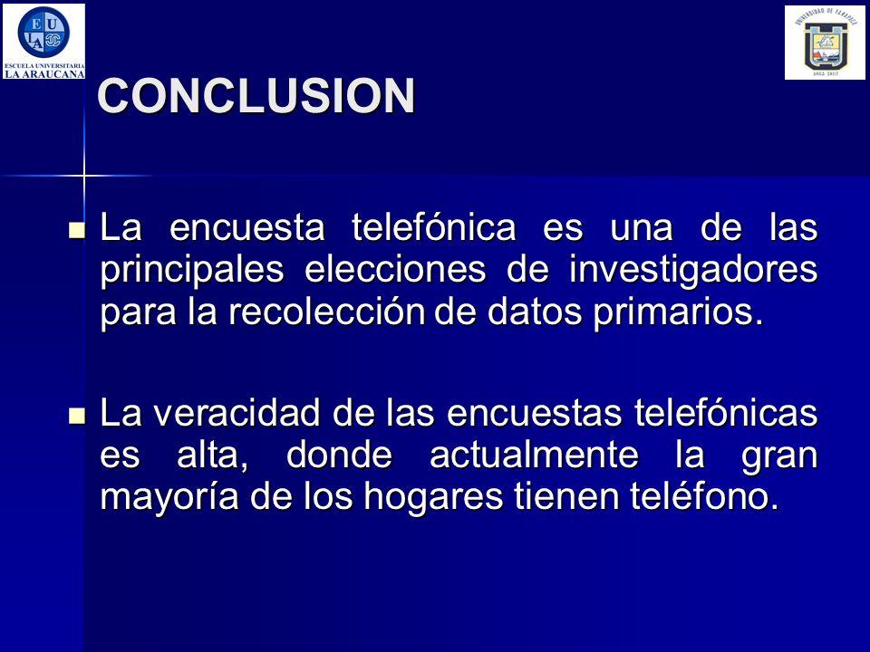 CONCLUSION La encuesta telefónica es una de las principales elecciones de investigadores para la recolección de datos primarios.