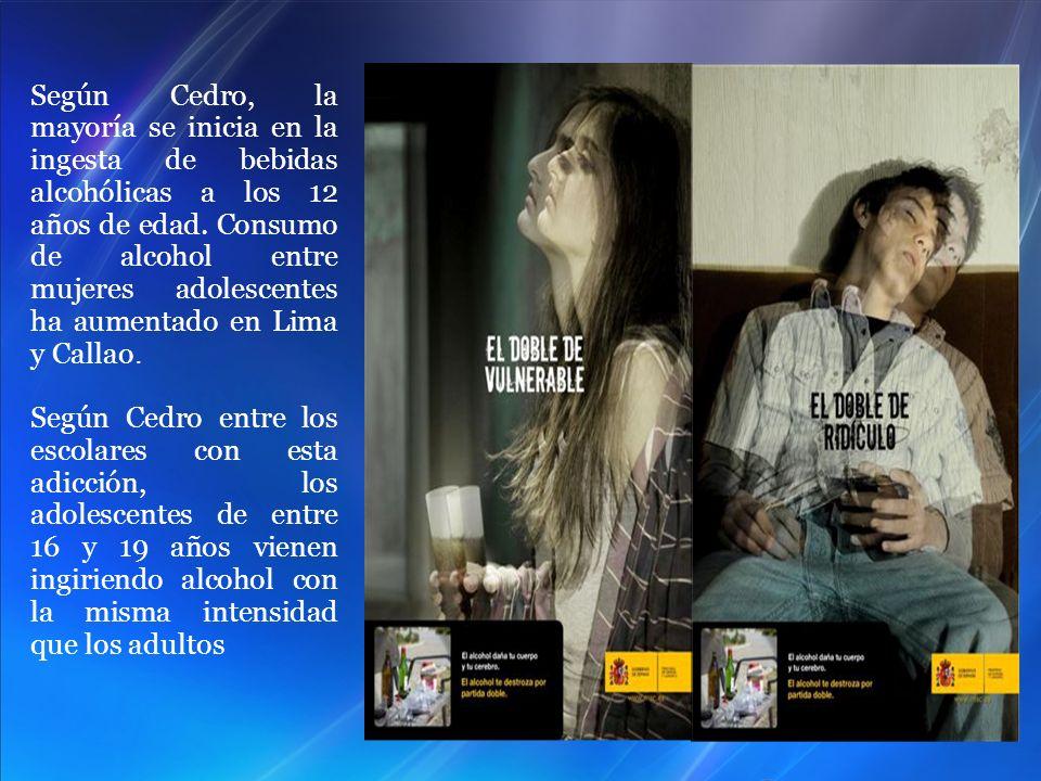 Según Cedro, la mayoría se inicia en la ingesta de bebidas alcohólicas a los 12 años de edad. Consumo de alcohol entre mujeres adolescentes ha aumentado en Lima y Callao.