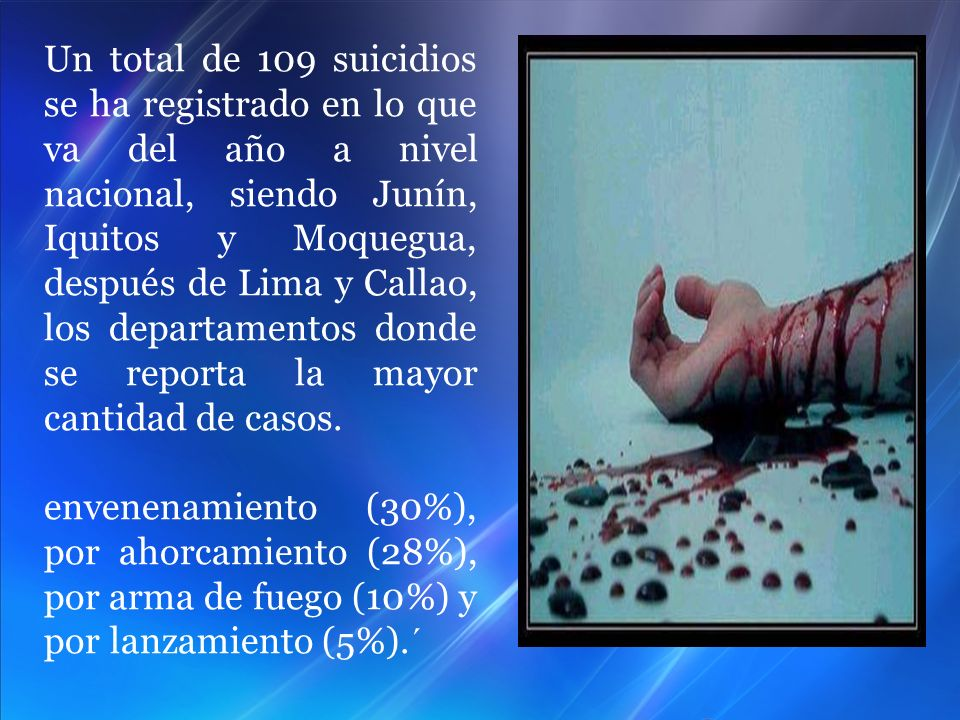 Un total de 109 suicidios se ha registrado en lo que va del año a nivel nacional, siendo Junín, Iquitos y Moquegua, después de Lima y Callao, los departamentos donde se reporta la mayor cantidad de casos.