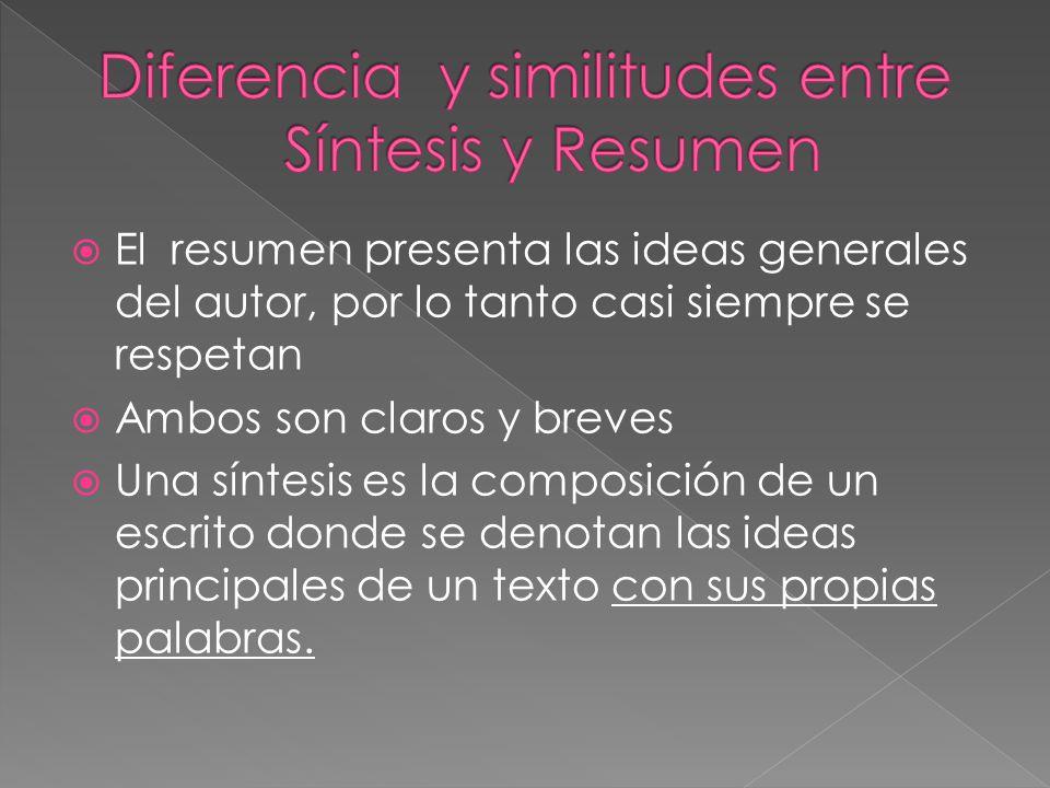 Diferencia y similitudes entre Síntesis y Resumen