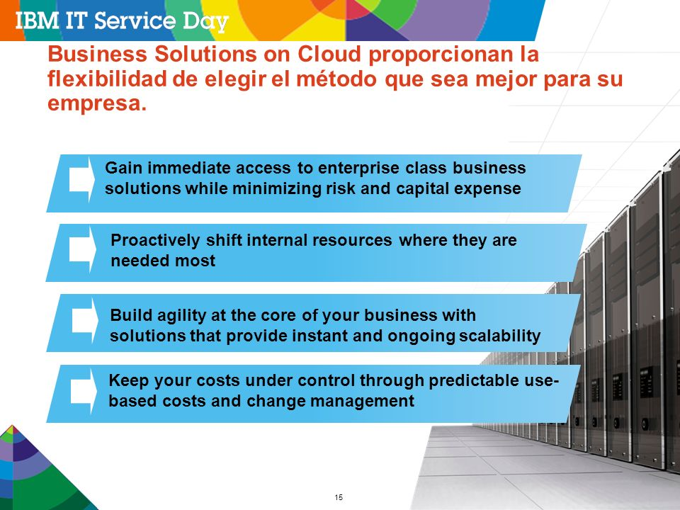 Business Solutions on Cloud proporcionan la flexibilidad de elegir el método que sea mejor para su empresa.