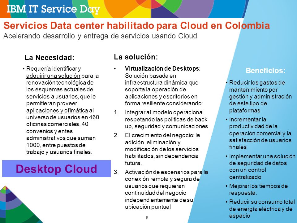 Desktop Cloud Servicios Data center habilitado para Cloud en Colombia