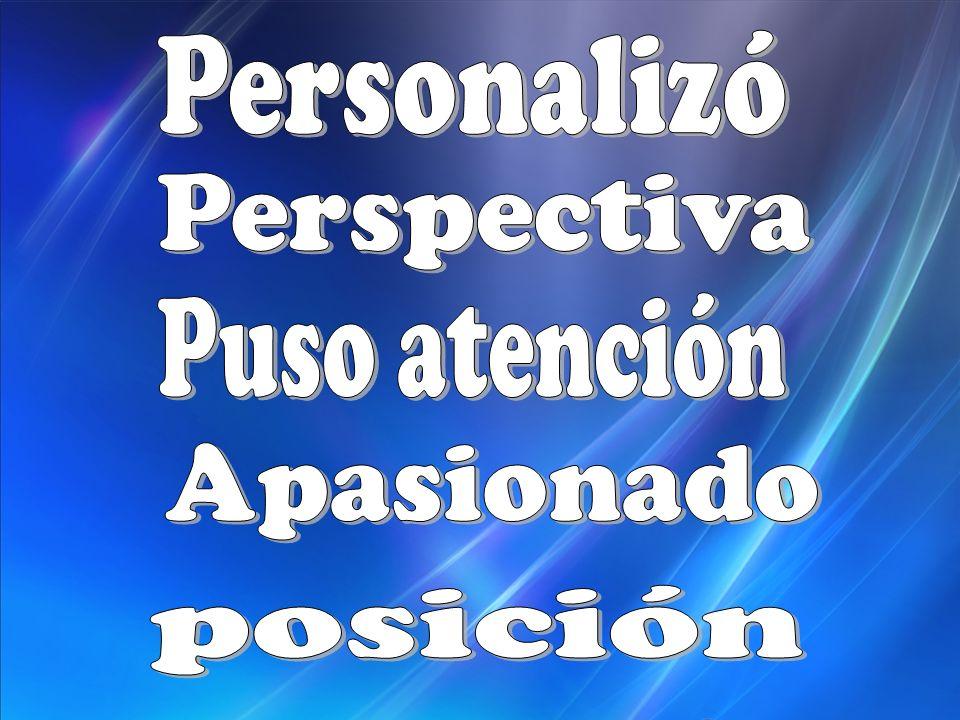 Personalizó Perspectiva Puso atención Apasionado posición