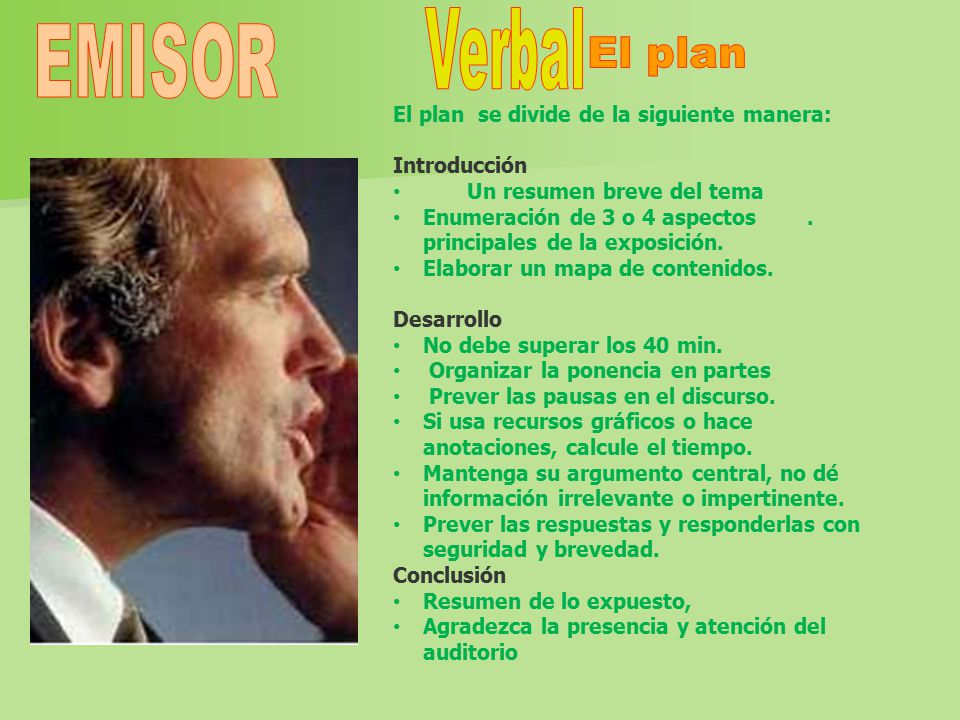 El plan EMISOR El plan se divide de la siguiente manera: Introducción
