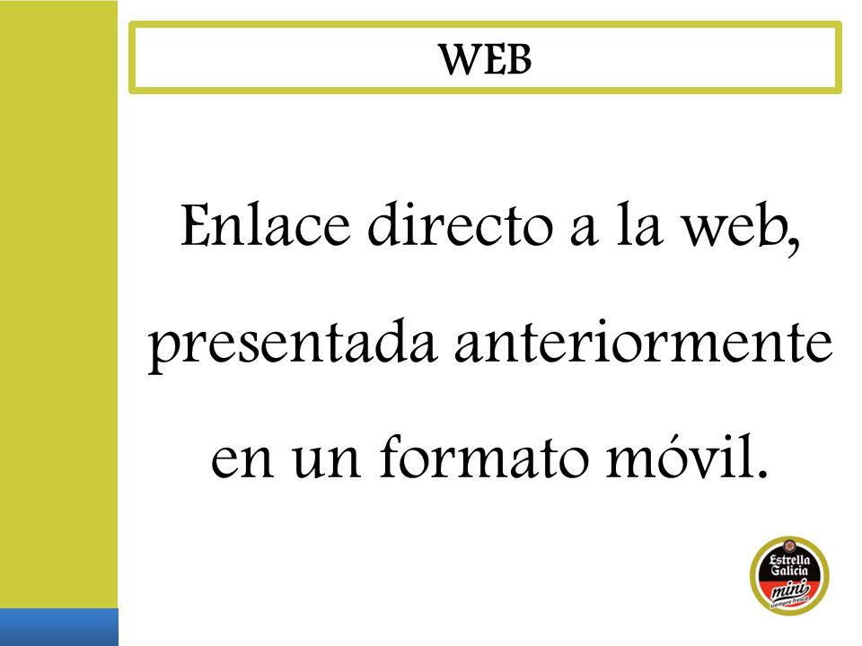 Enlace directo a la web, presentada anteriormente en un formato móvil.
