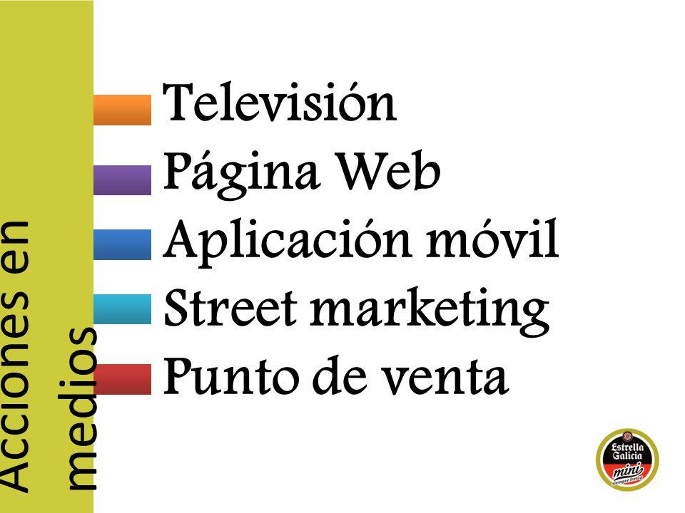 Televisión Página Web Aplicación móvil Street marketing Punto de venta Acciones en medios