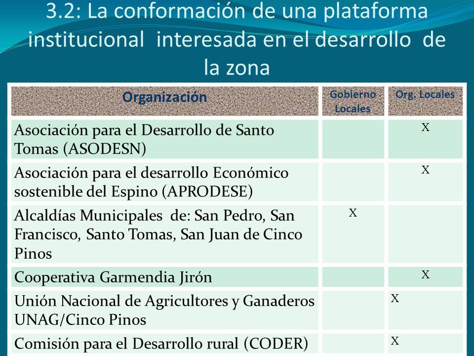 3.2: La conformación de una plataforma institucional interesada en el desarrollo de la zona