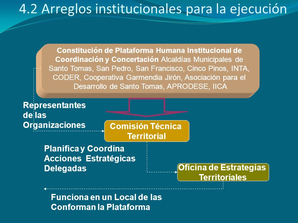 4.2 Arreglos institucionales para la ejecución