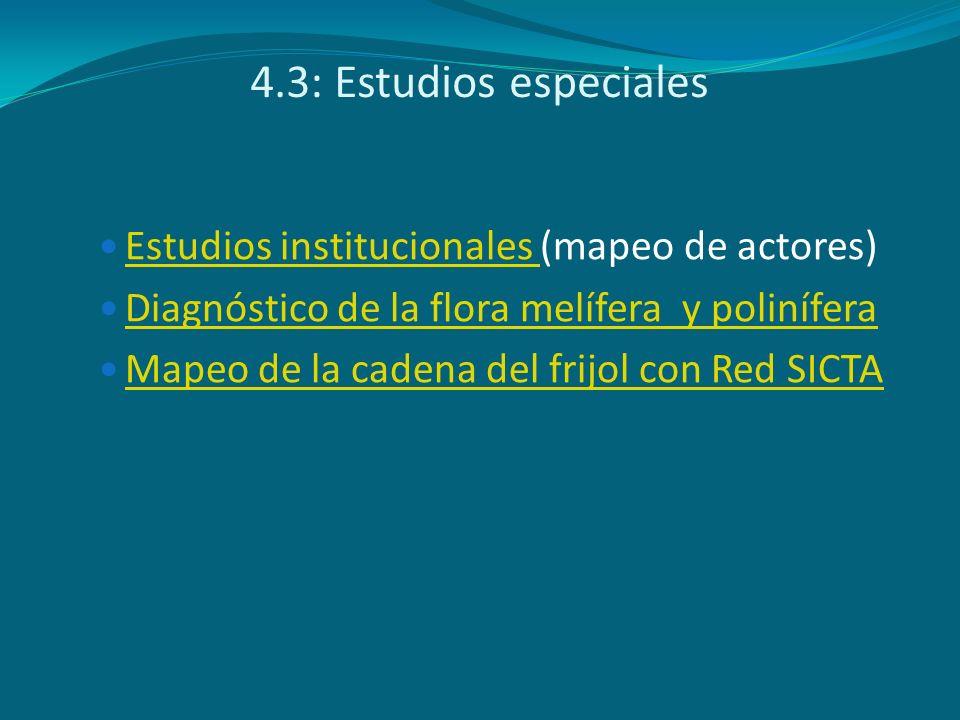 4.3: Estudios especiales Estudios institucionales (mapeo de actores)