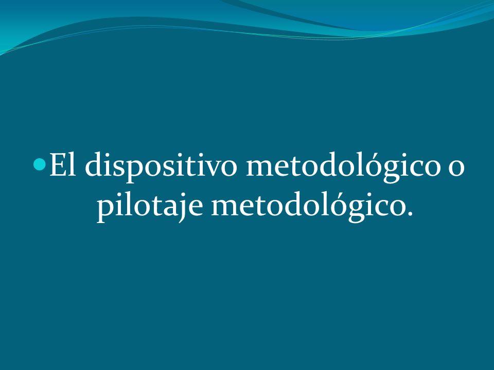 El dispositivo metodológico o pilotaje metodológico.