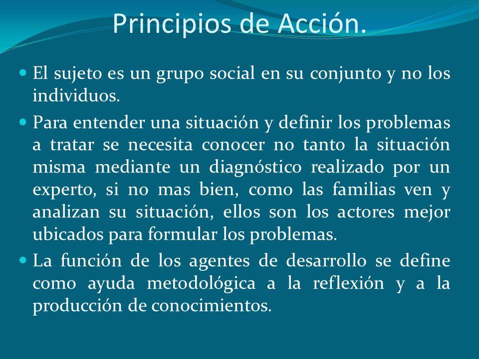 Principios de Acción. El sujeto es un grupo social en su conjunto y no los individuos.