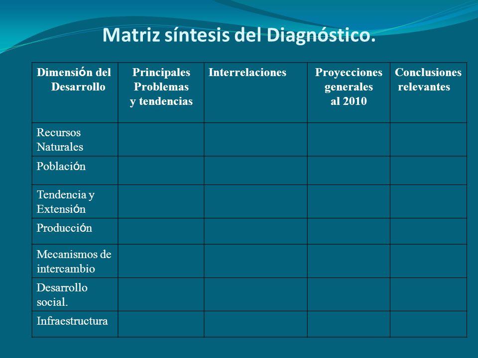 Matriz síntesis del Diagnóstico.