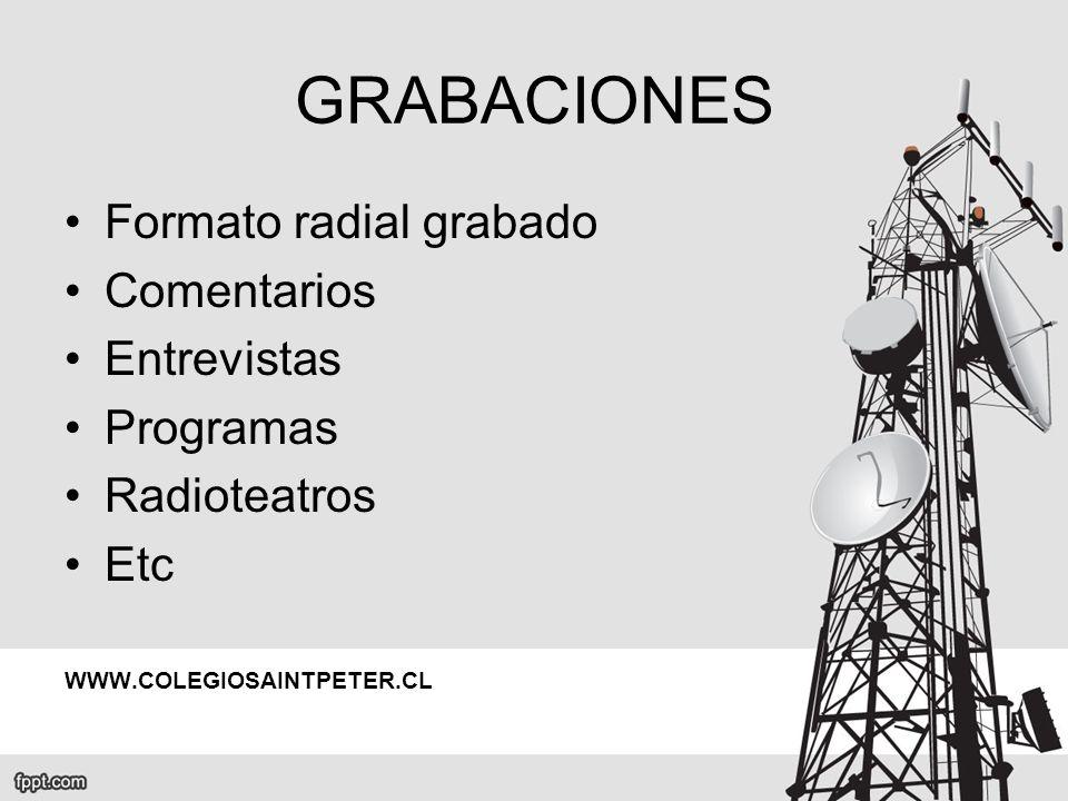 GRABACIONES Formato radial grabado Comentarios Entrevistas Programas