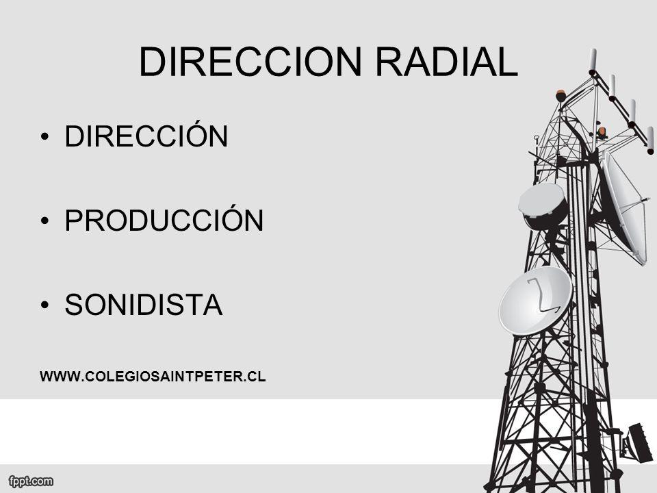 DIRECCION RADIAL DIRECCIÓN PRODUCCIÓN SONIDISTA
