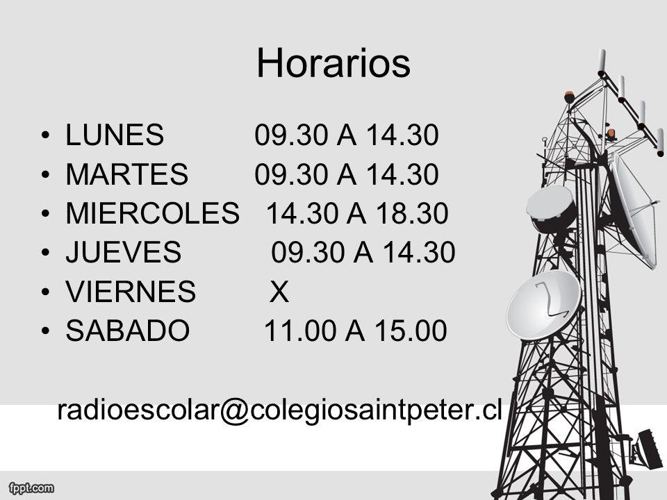 Horarios LUNES 09.30 A 14.30 MARTES 09.30 A 14.30