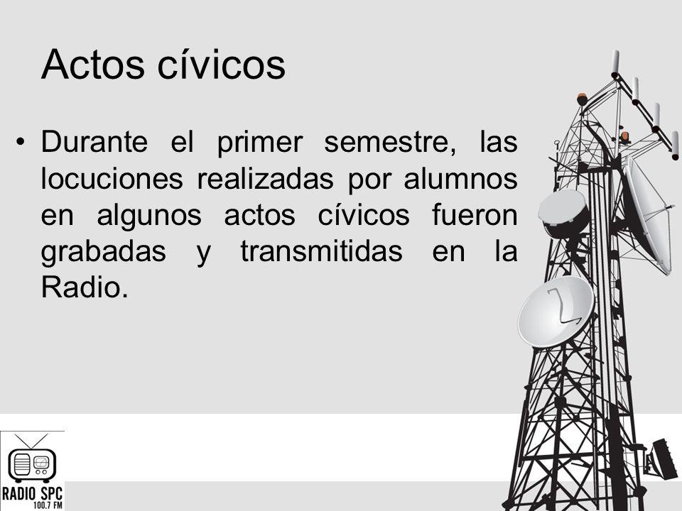 Actos cívicos Durante el primer semestre, las locuciones realizadas por alumnos en algunos actos cívicos fueron grabadas y transmitidas en la Radio.